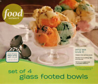 4 Piece Food Network Glass Footed Bowls Serving or Dessert Brand New In Box 2009
