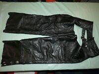 Mens Black Interstate Leather Chaps Adjustable Size Medium Med Motorcycle Biker