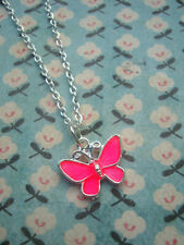 FUNKY SILVER PINK BUTTERFLY NECKLACE KITSCH CUTE RETRO FLYING INSECT WINGS EMO