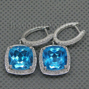 Jewelry Sets Cushion 10x10mm Solid 14Kt White Gold Diamond Topaz Earrings E0006