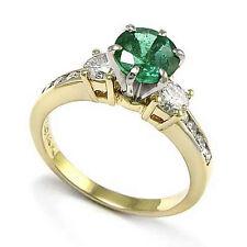 14K YELLOW GOLD EMERALD AND DIAMOND ENGAGEMENT RING Free shipping worldwide