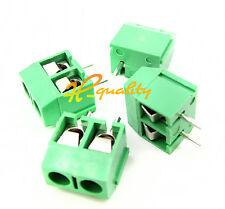 100PCS KF301-2P 2 Pin Plug-in Screw Terminal Block Connector 5.08mm Pitch Green