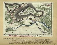 "1863 MAP, Civil War, hand drawn art, Auburn, Virginia, Battlefield, 20""x16"""