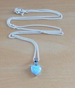 "Sterling Silver Blue Opal Heart Pendant & 18"" Chain/Silver Blue Opal Necklace/UK"
