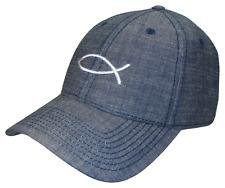 Blue Jeans Denim & White Jesus Fish Baseball Cap Hat Caps Hats God Christ Lord
