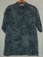 Tommy Bahama Mens Hawaiian Shirt Silk Black Gray M Ocean Floral Aloha Button SS
