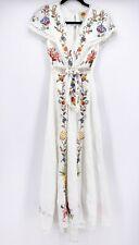 FARM Rio Embroidered Cross-Stitch Front Knot Slubbed Weave Linen Dress XS~TLC