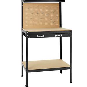 Établi d'atelier 81 x 41 x 145 cm avec panneau à outils et tiroir de rangement