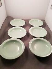 "BOONTON WARE Set 6 Mint Green Bowls 7"" Salad Cereal  Melamine 303-10 USA"