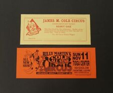 2 Items: Cole All Star Circus Adult Ticket & James M. Cole Circus Comp. Ticket