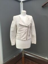 Zara Womens Biker Jacket Size 10 Stone Ivory Cotton