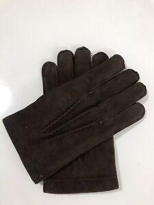 Vintage Retro 1970s PROVA Men Brown Suede Leather Driving Winter Gloves Size 9.5