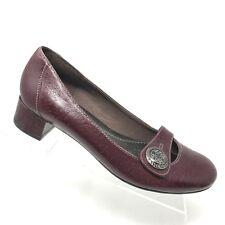 Clarks Artisan Burgundy Leather Embossed Slip On Career Block Heel SIZE 8.5 M