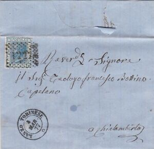 1877 ITALIA LANZO TORINES ITALY COVER LETTER WITH 20c BLUE STAMP 99p START!