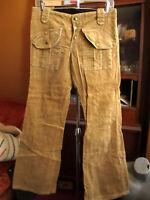 31x31 Fit True Vtg 70s GOLDEN BROWN CORDS CORDUROY HIPPY BELLBOTTOM FLARE Jeans