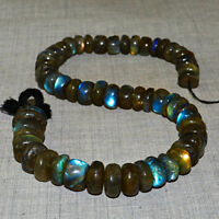 445.00 Cts / 14 Inches Earth Mined Blue Flash Labradorite Drilled Beads Strand
