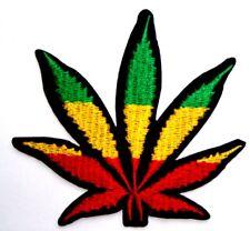 Marijuana Cannabis Weed leaf Jamaican flag Embroidered Iron Sew On Patch Badge