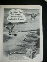 VTG 1960 Orig Magazine Ad Federal Hi-Power Shot Gun Shells Sports Ammo