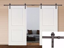 13FT Dark Coffee Steel Sliding Door Hardware Set w/ 2x36