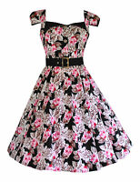 Ladies 40's 50's Retro Vintage Pink Taupe Rose Belted Swing Tea Dress New 8-18