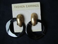 Vintage Fashion Earrings Oval Black Agate Charm w/ Gold Tone French Clips 1970s