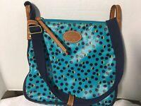 "FOSSIL Oilcloth Crossbody Shoulder Bag Adjustable Strap 11"" x 9.5"" x 2"" Blue"