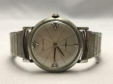 VINTAGE Bulova 10k White Gold Filled Mechanical Hand-Winding Diamond Watch
