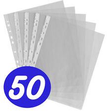 50 x A4 Plástico Transparente Ataladrado perforadora Bolsillos Carpeta Fundas