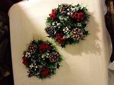 2 vtg Christmas plastic candle ring wreaths 3&1/4in. opening berries pinecones