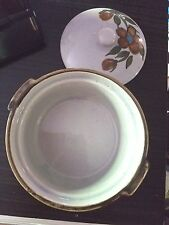 Pottery Bowl made in Korea Oven Proof Hand Painted Flowers on Lid Crock