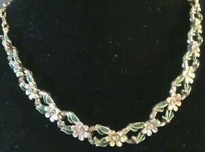 Vintage PASTEL Delicate FLOWER & Leaf w/ Crystal Rhinestone  Necklace