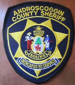 VINTAGE EUC ANDROSCOGGIN COUNTY SHERIFF MAINE MULTICOLOR EMBROIDERED PATCH