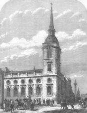 LONDON. St Benet church, Gracechurch Street, demolished, antique print, 1867