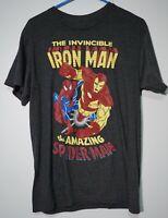 MARVEL INVINCIBLE IRON MAN & AMAZING SPIDERMAN - Men's Medium T-Shirt  NWT