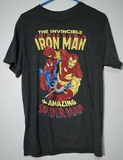 MARVEL INVINCIBLE IRON MAN & AMAZING SPIDERMAN - Men's Medium T-Shirt  NWT