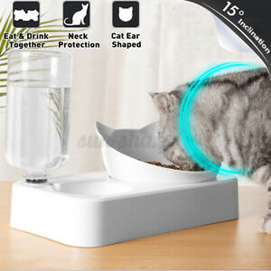 2 In 1 Automatic Water Dispenser Pet Dog Puppy Cat Food Dish Dual Bowl Feeder