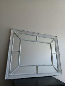 White Rustic Window Style Mirror Enchanted Window Hallway Living room Mirror New