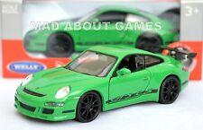 PORSCHE 911 997 GT3 RS 12 cm Opening Doors Pull Back & Go Metal Diecast Green