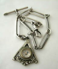 VICTORIAN SILVER FANCY ALBERT CHAIN with MASONIC COMPASS FOB