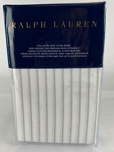 Ralph Lauren Prescot Stripe 1-Full Extra Deep Fitted Sheet Taupe & White