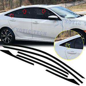 6x Chrome Delete Vinyl Blackout Window Trims Fit For Honda Civic Sedan 2016-2021