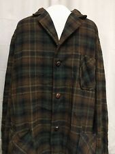 Vintage Pendleton 100% Wool Brown Green Plaid Lightweight Shirt/Jacket Mens Sz L