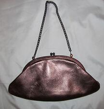 HOBO INTERNATIONAL  metallic bronze kisslock metal chain  evening clutch bag