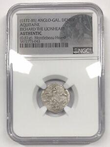 12th Century Anglo-Gallic Denier Coin Aquitaine Richard the Lionheart NGC