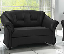 Brand New 2 Seater Sofa Couch Black / Brown Faux Leather High Back FREE DELIVERY