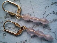 Amethyst Ohrhänger lang Gold 333, feine Ohrhänger Gold 333 mit Amethyst 3,5 cm