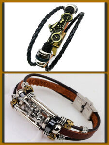 Mens Vintage Dragon Or  Motorcycle Multilayer Leather Bangle Bracelet  Jewelry