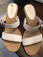 AEROSOLES womens sandals slides Buckle retro leather kitten heel White 7M EUC