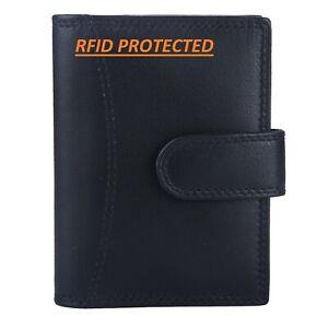 Genuine Leather Credit Card Holder Wallet 20 clear plastic pockets RFID Blocking