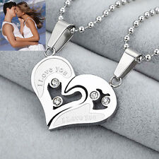 Couple Heart Love Girlfriend Boyfriend Lovers Silver Pendant Necklace Chain Gift